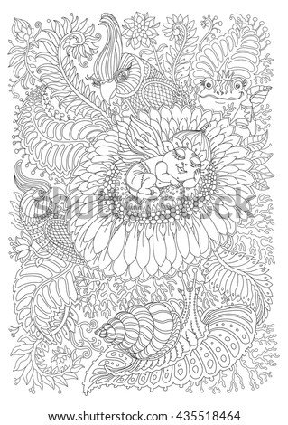 Vector fantasy pixie baby with butterfly wings, fantastic chamomile flower, tropical leaves, foliage.Black and white. Stylized Indian parrot, fairy frog, snail.T-shirt print. Adults coloring book page