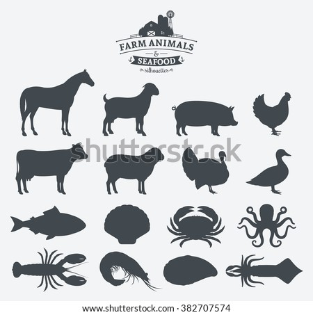 Vector farm animals and seafood silhouettes collection. Livestock, poultry and seafood icons collection for groceries, meat stores and seafood shop - stock vector