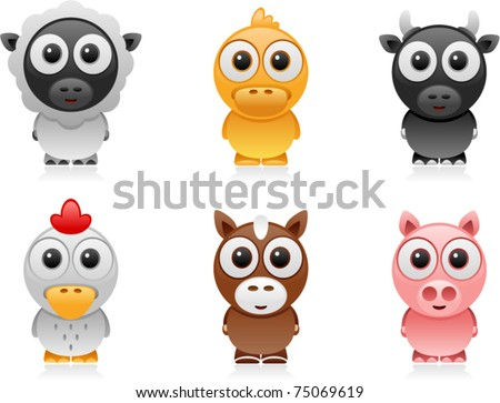 vector farm animals cartoon set 2 - stock vector