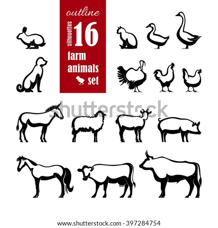 Vector Farm Animals outline Silhouettes set for domestic fauna design. Cow, horse, cat, sheep, chicken, duck, turkey, goat, rabbit, dog, donkey, pig, beef, goose isolated on white background.  - stock vector