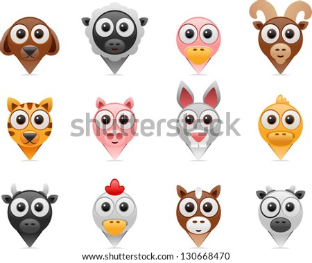 vector farm animals pointer icons - Separate layers for easy editing - stock vector