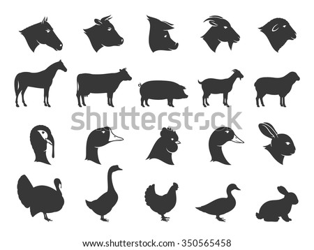 Vector farm animals silhouettes isolated on white. Livestock and poultry icons collection for groceries, meat stores, packaging and advertising. - stock vector