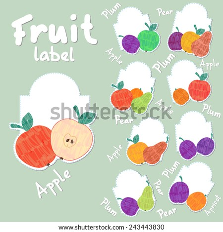 Vector farm fruit label set with spare room for text and colorful pear, plum, apricot and apple  - stock vector