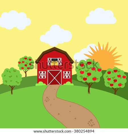 Vector Farm Themed Background - stock vector