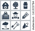 Vector farming icons set: barn, apple tree, milk can, field and harvester, farmer, ear of wheat, seeding, spade and pitchfork, corn - stock vector