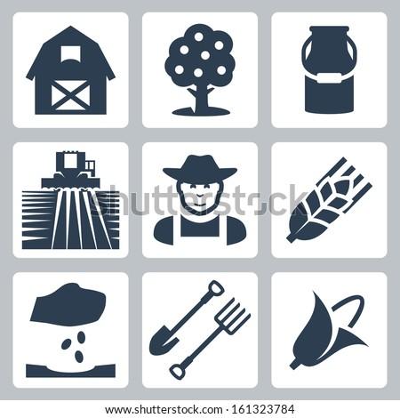Vector farming icons set: barn, apple tree, milk can, field and harvester, farmer, ear of wheat, seeding, spade and pitchfork, corn - stock vector