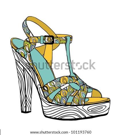 Vector Fashion Barefoot Illustration - stock vector
