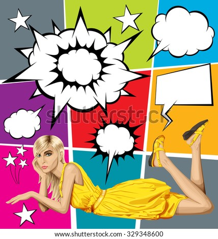 Vector fashion blonde in pink dress lies on a floor, vector set of speech and thought bubbles - stock vector