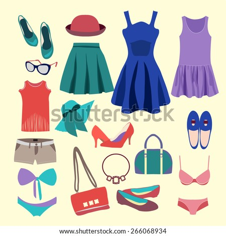 Vector Fashion Collection of  summer clothes (skirts, shorts, swimsuits, hat and accessories) - Illustration  - stock vector