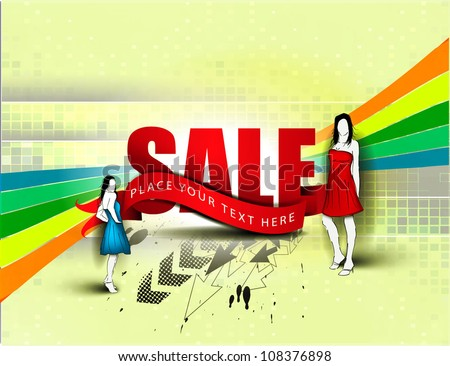 Vector fashion girls in sketch-style for sale design. - stock vector
