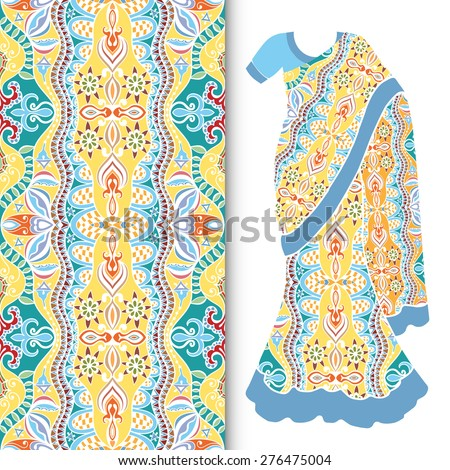 Vector fashion illustration, decorative stylized Indian sari women's ethnic dress, fabric seamless ornamental pattern with repeating texture, elements for invitation or greeting card design.  - stock vector
