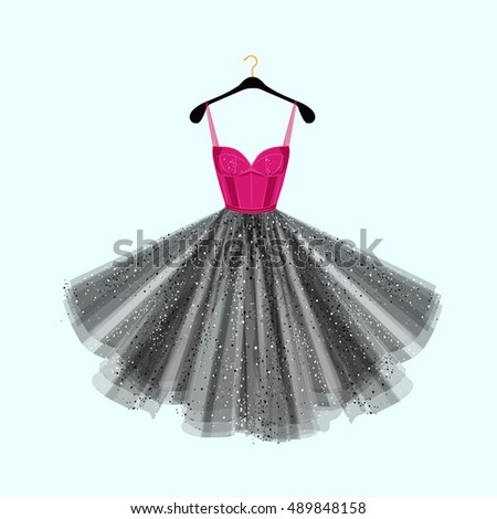 Vector fashion illustration. Dress for special event.