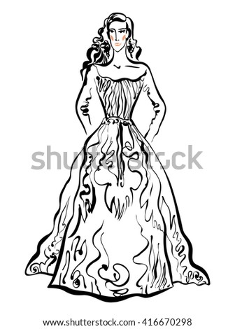 Vector fashion illustration. Hand drawn inked sketch. Fashion show. Defile model in evening dress. - stock vector
