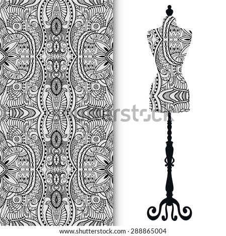 Vector fashion illustration, seamless geometric pattern. Vector vintage tailor's dummy for female body, elements for invitation card design. Islamic arabic, indian ornament, fabric repeating texture - stock vector