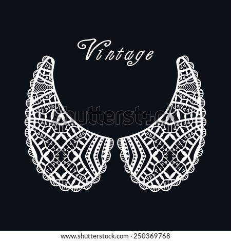 Vector fashion illustration. Vintage lace collar, retro style, lace pattern set, hand drawn artwork, isolated element for card design, white on black background - stock vector