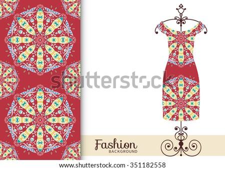 Vector fashion illustration. Women's dress on a hanger and seamless pattern with Mandala round floral geometric ornament. Hand drawn isolated elements for scrapbook, invitations or cards design. - stock vector