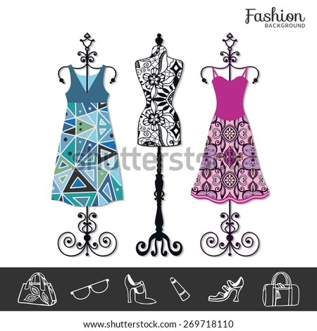Vector fashion illustration, women's dress on a hanger, clothes background, fashion shopping icons. Vector vintage tailor's dummy for female body, isolated elements for invitation card design. - stock vector