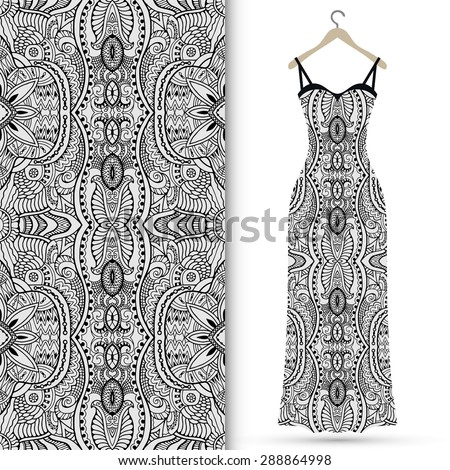 Vector fashion illustration, women's dress on a hanger, hand drawn seamless geometric pattern, isolated elements for invitation card design, repeating fabric texture - stock vector
