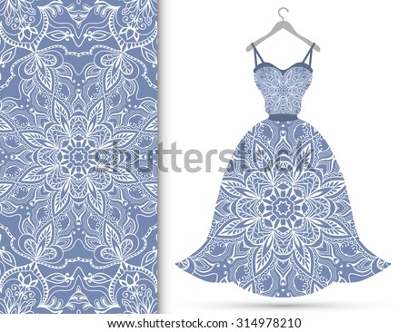 Vector fashion illustration, women's lace dress on a hanger, hand drawn seamless geometric pattern, isolated elements for invitation card design. Seamless fabric texture - stock vector