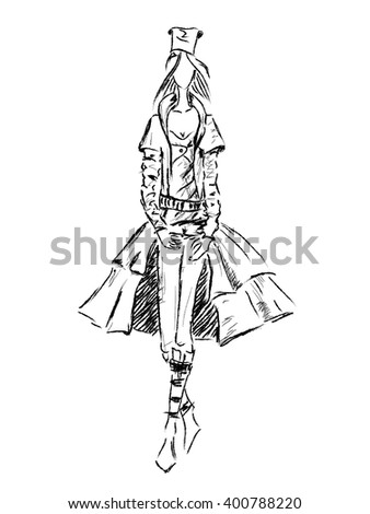 Vector fashion model. Vector sketch silhouette. Dress pencil sketch. Vector fashion outline. Black fashion background. - stock vector