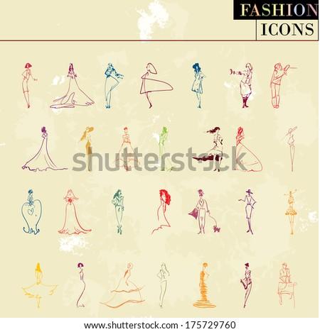 Vector fashion models: big coloured set - stock vector