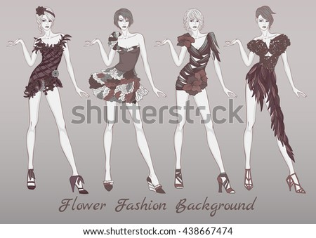 Vector fashion set of fantasies floral clothes template for young woman in monochromatic. Summer different dresses for girl on grey background. Vector fashion illustration.