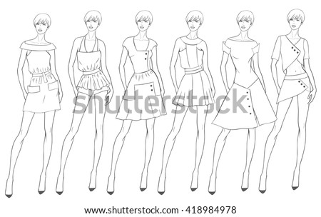 Vector fashion set of summer clothes for young girl. Fashion illustration. Six different garment in black and white. Coloring Page. Sketch