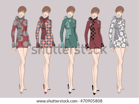 Vector fashion set of summer colorful clothes for young woman. Colorful dresses for her. Vector fashion illustration.
