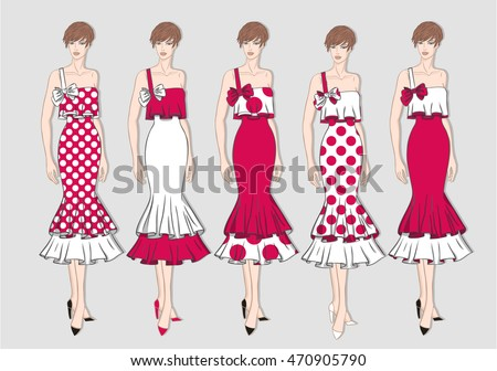 Vector fashion set of summer colorful clothes for young woman. Summer different dresses for girl on gray background. Vector fashion illustration.