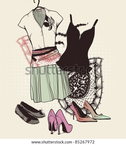 vector fashion set of trendy shoes, black underwear and  a summer dress - stock vector
