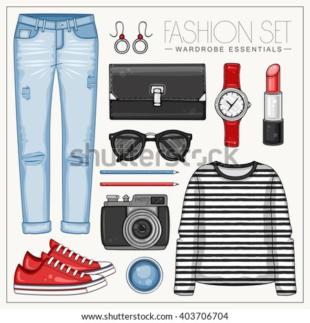 Vector fashion set of woman's clothes and accessories. Casual outfit with jeans, frock top and sneakers - stock vector