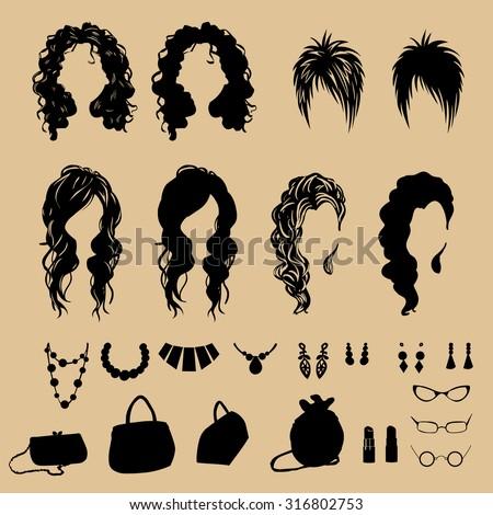 vector fashion silhouettes. Fashion hairstyles