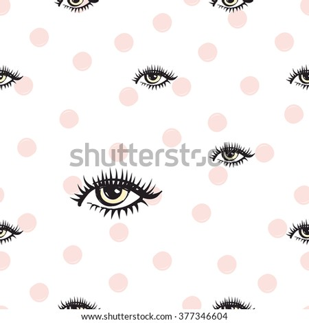 Vector fashion sketch. Hand drawn graphic eye, red lip, lip. Contrasty glamour fashion seamless pattern in vogue style. Isolated elements on white background - stock vector