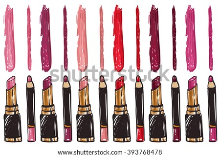 Vector fashion sketch makeup set lipstick with lip pencil collection colors chart palette. Hand drawn graphic color shine glossy glamour fashion card vogue style. Isolated elements on white background - stock vector