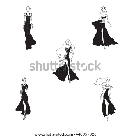 Vector Fashion Sketch Set Beautiful Models Stock Vector ...