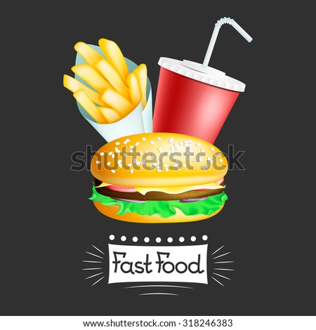 Vector fast food banner with hamburger, french potatoes in cone and drink. EPS 10 illustration