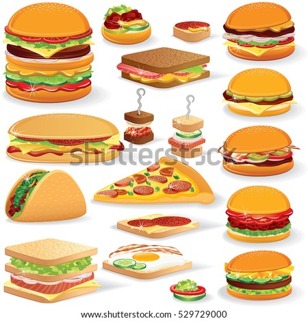 Vector Fast Food Clip art. Set of Isolated Illustrations of Variety Burgers and Sandwiches. Lunch and Dinner