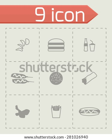 Vector Fast food icon set on grey background - stock vector