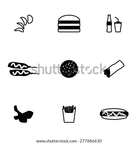 Vector Fast food icon set on white background - stock vector