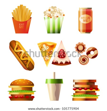 Vector Fast Food Set - stock vector