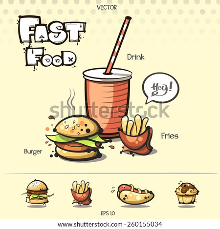 vector. fast food set. sketch art for your design - stock vector