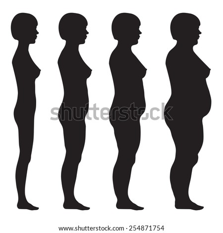 vector fat body, weight loss, overweight silhouette illustration, before, after woman - stock vector