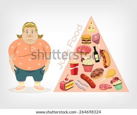 Vector fat woman flat illustration - stock vector