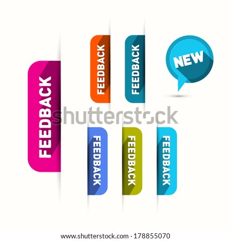 Vector Feedback and New Icons Set Isolated on White Background - stock vector
