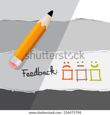 Vector Feedback Symbols with Pencil - stock vector
