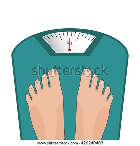 Vector feet on the scale. Concept of weight loss, healthy lifestyles, diet, proper nutrition.