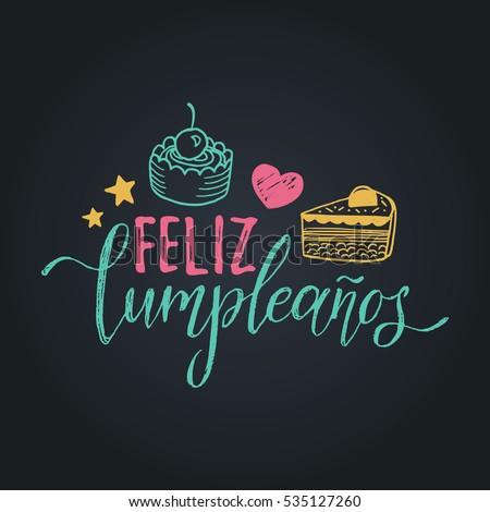 Vector feliz cumpleanos translated happy birthday stock - Feliz cumpleanos letras ...