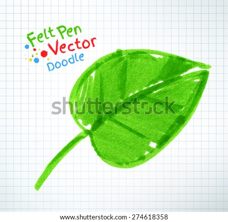Vector felt pen child drawing of green leaf on checkered school notebook paper. - stock vector