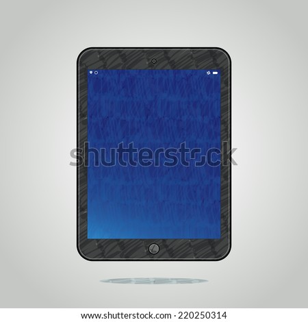 Vector felt tip marker pen drawn modern tablet computer with luminous blue screen on grey shining background, easy editable color - stock vector