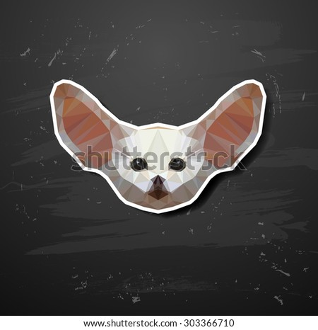 vector Fennec fox in the style of origami abstract triangle polygonal - stock vector